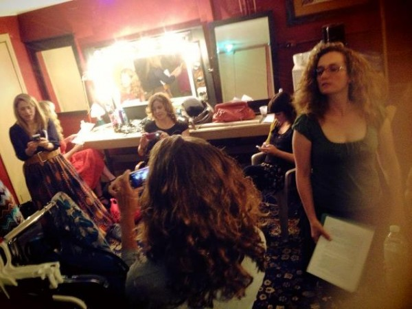 Backstage where a copious amount of wine is quaffed both before and after the show.