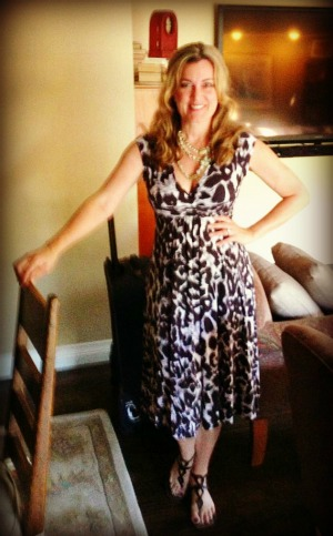 Dress #50. I wore this one out with my Pussy Posse at Mom 2.0 conference in Laguna Niguel. I think we all know by now that women dress for women. (This one I got whilst in Africa). Is it just me or do I look like I'm on Roofies in the picture?
