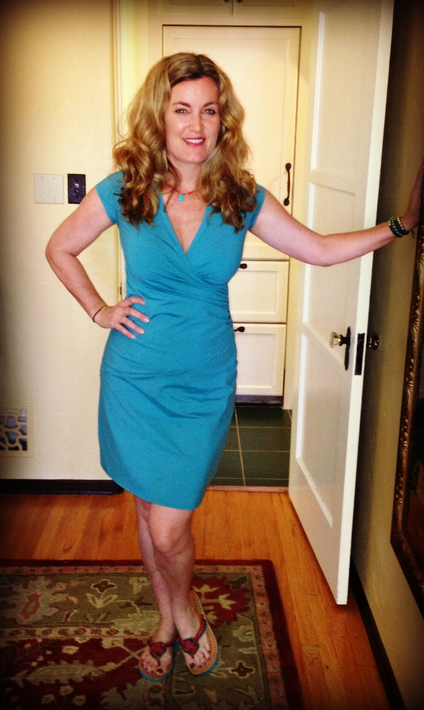 Dress #58.  I always worry this Athleta dress cuts me weird across the tummy.  But love the color.